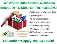 TOY WAREHOUSE HIRING GENERAL LABOURERES IN ANCASTER!