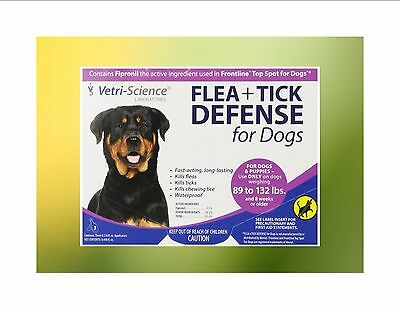 Generic Frontline Vetri Science Flea +  Tick Defense for Dogs 89-132 pounds 3pk
