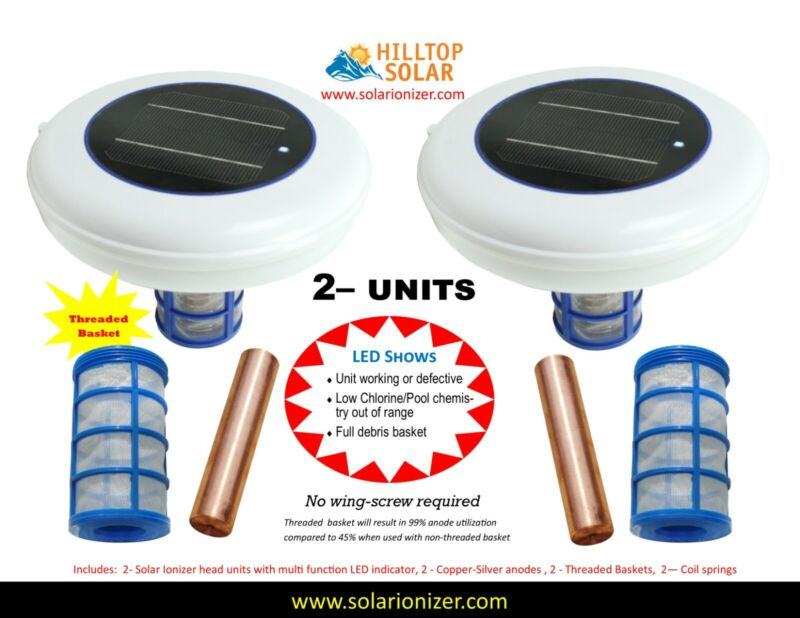 Solar Pool Ionizer with LED 2 units 7.0V-LED On/Off -Each anode life 30+ months