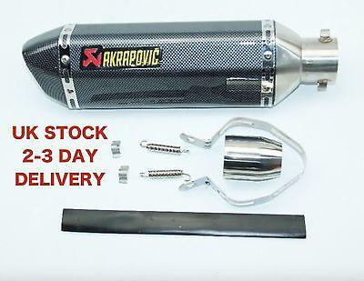 (UK STOCK) Universal Motorcycle Exhaust 51mm silencer muffler pipe Carbon Fiber