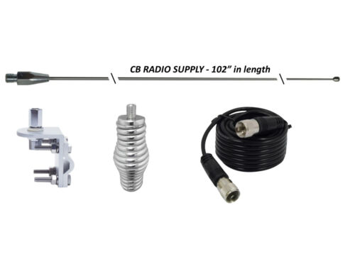 "CRS 102SSWA 102"" WHIP Antenna Stainless Steel, 18ft COAX, SPRING & MOUNT"