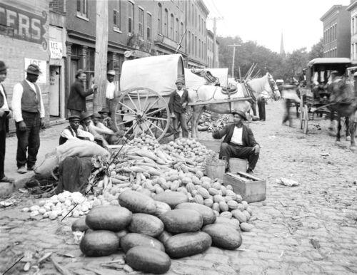 AFRICAN AMERICAN Men Selling Vegetables-Richmond Virginia-8 1/2 x 11- 1908 Photo