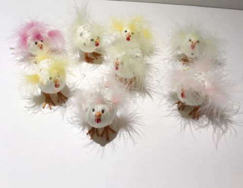 Easter Eggs Shaped Like Little Chicks With Feathers Lot of 8 Beautiful Colors