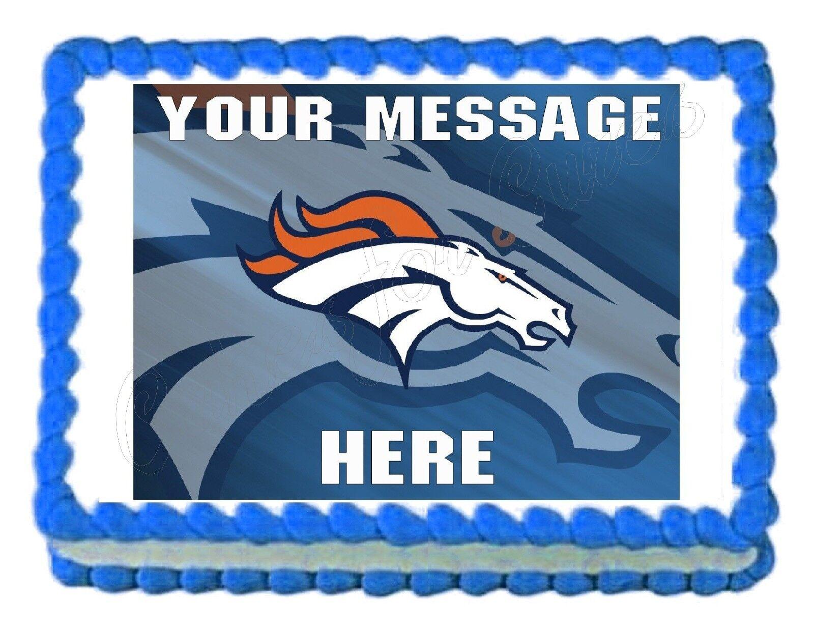 Denver Broncos Football Party Edible Cake Image Topper