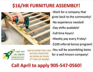 $16/HR FURNITURE ASSEMBLY IN STONEY CREEK!