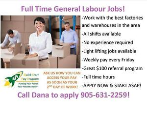 CALL US TODAY TO START YOUR GENERAL LABOUR CAREER!