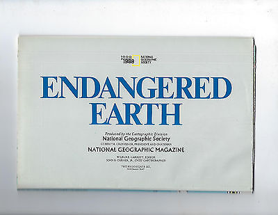 1988 NATIONAL GEOGRAPHIC ENDANGERED EARTH WALL MAP - MINT