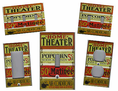HOME THEATER MOVIE SIGNS MOVIE ROOM HOME DECOR LIGHT SWITCH PLATES AND OUTLETS