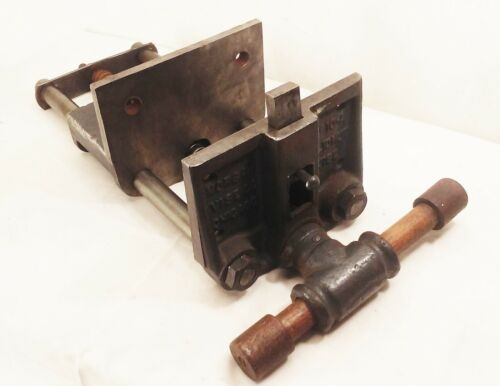 """Vtg Morgan 10-A woodworking under bench vise clamp cast iron 7 1/8"""" jaw usa"""