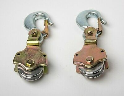 2xwire Rope Pulley Block 2ton Swivel Eye Hoist Hook Snatch Block Sheive Anodized