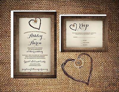 Wedding Invitations Wood Burlap & Twine Heart Rustic 50 Invitations & RSVP Card