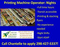 DIRECT HIRE – PERMANENT JOB! PRINTER MACHINE OPERATOR!