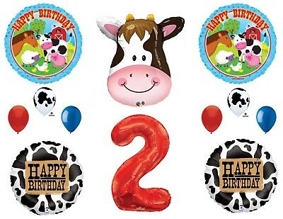 Farm 2nd Birthday Party Supplies (Farm Cow Horse 2nd Birthday Party Balloons Decoration Supplies)