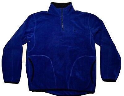 Teal Blue Nautica Polar Fleece Zip Funnel Neck Men's Shirt Sweater L