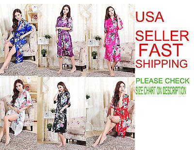 Flowers Sleepwear (women's Peacock Flower Kimono Bridesmaid Robes Bridal Sleepwear Bathrobes Silk  )