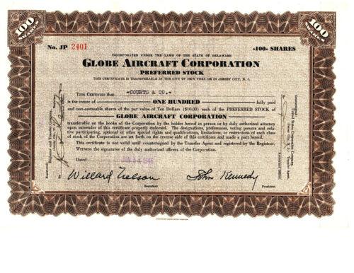 RARE Vintage Globe Aircraft Corporation Stock Certificate 1946 Globe Swift