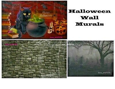 Haunted Cemetery Halloween (Halloween Wall Murals Scene Setters, Skeleton Cemetery Castle Wall Haunted)