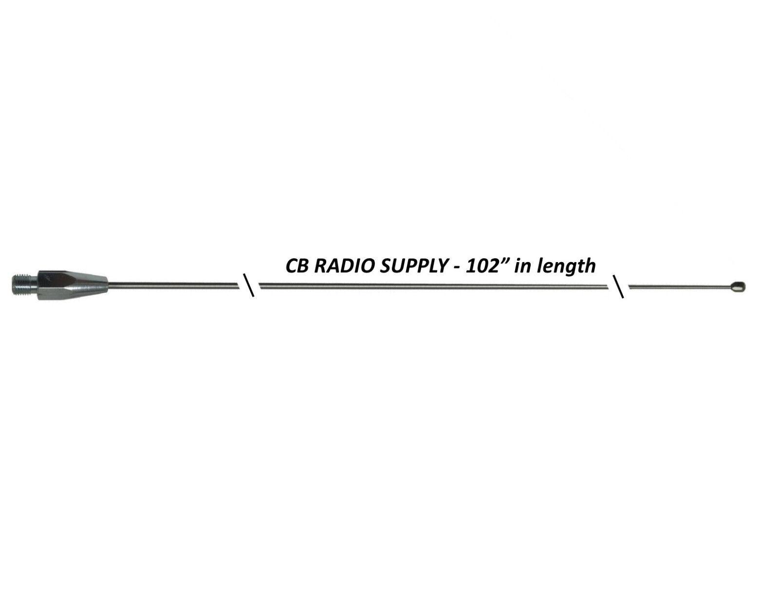"CRS 102  Stainless Steel 102"" Inch CB / HAM Radio Antenna Wh"