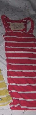 Abercrombie and Fitch Tank Top Fuchsia White Striped Size Small