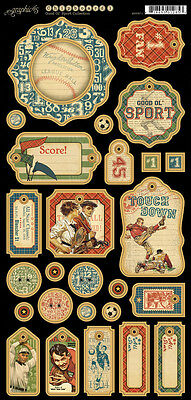 Graphic45 Chipboard-GOOD OL' SPORT #1 scrapbooking (27) PCS Vintage