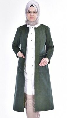 Women Abaya Jacket Long Sleeves Green Zero Collar Cotton Open Front Sz XXL