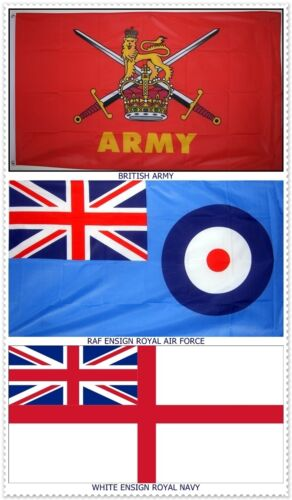 "3 BRITISH ARMED FORCES FLAGS 18"" X 12"" for boats caravans RAF ROYAL NAVY ARMY"