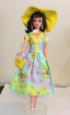 Francie Barbie Handmade Outfit Dress Jewelry Hat And Purse (no Doll)