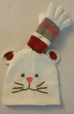 Toddler Girls Warm Lined Critter White Hat And Matching Gloves NWT - White Gloves Toddler