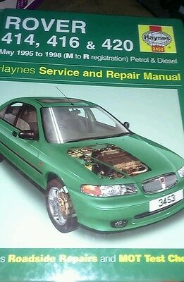 Haynes manual. Rover 414. 416. 420. 1995 to 1998. M to R. Registration.
