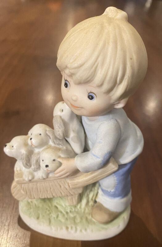 VINTAGE HOMCO LITTLE BOY PUPPIES IN WHEEL BARREL PORCELAIN FIGURINE #1402