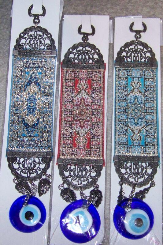 "Red, Blue & Navy Tapestary 10"" Long 1 1/2"" Glass Turkish Evil Eye Wall Charm Set"