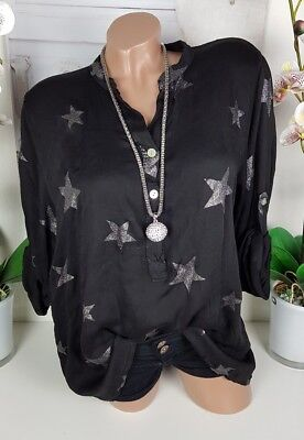 Tunika Weihnachten (Tunika Longsleeve Shirt Bluse Sterne schwarz oversize Weihnachten 36 38 40 neu)