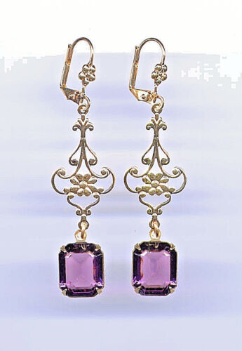 AMETHYST emerald-cut crystal FILIGREE EARRINGS 14K Antique Gold gp *Vtg Czech