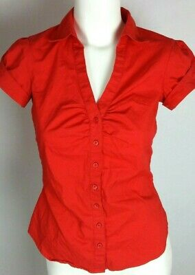 H&M Women's Blouse Sz 4 Red Short Sleeve Button Front