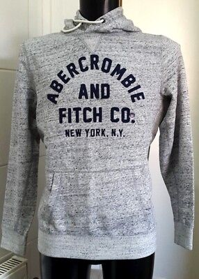 NEW Abercrombie & Fitch Large Front Flock Logo Hoodie, Light Grey Marl...