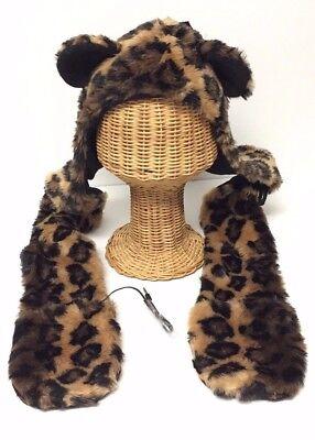 New Faux Fur Animal Print Ear-flap Hat W// Scarf Packet Warm Trapper Bomber Cap
