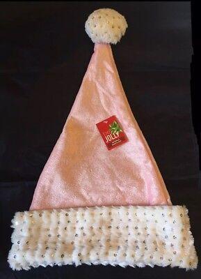 Plush Santa Hat (Sparkle Santa Hat Pink w/ White & Sequin Trim - Plush - Adult OSFM -)