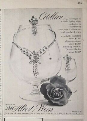 1954 Albert Weiss Cotillion rhinestone necklace earrings vintage jewelry ad