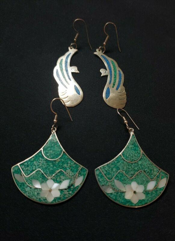 Vintage Mexico inlay gemstone earrings