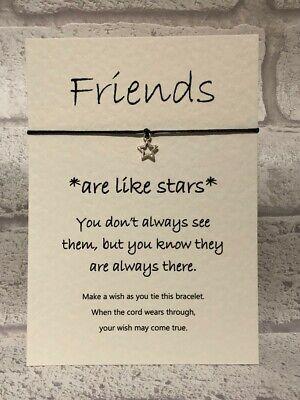 Wish Bracelet Card String Charm Friends are Like Stars Friendship Inspirational