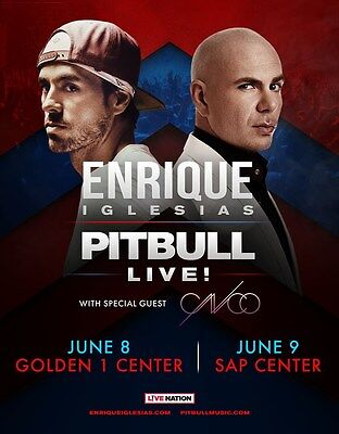 ENRIQUE IGLESIAS /PITBULL 2017 SAN FRANCISCO CONCERT TOUR POSTER-Spanish Hip Hop