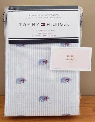 S/2 Tommy Hilfiger FLANNEL Pillowcases POLAR BEAR Standard Size 100% Cotton NIP 2 Tommy Hilfiger Pillowcases