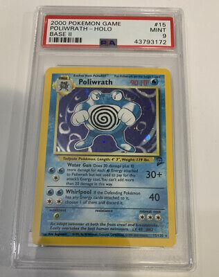 PSA 9 MINT POLIWRATH HOLO Pokemon Base Set 2 15/130