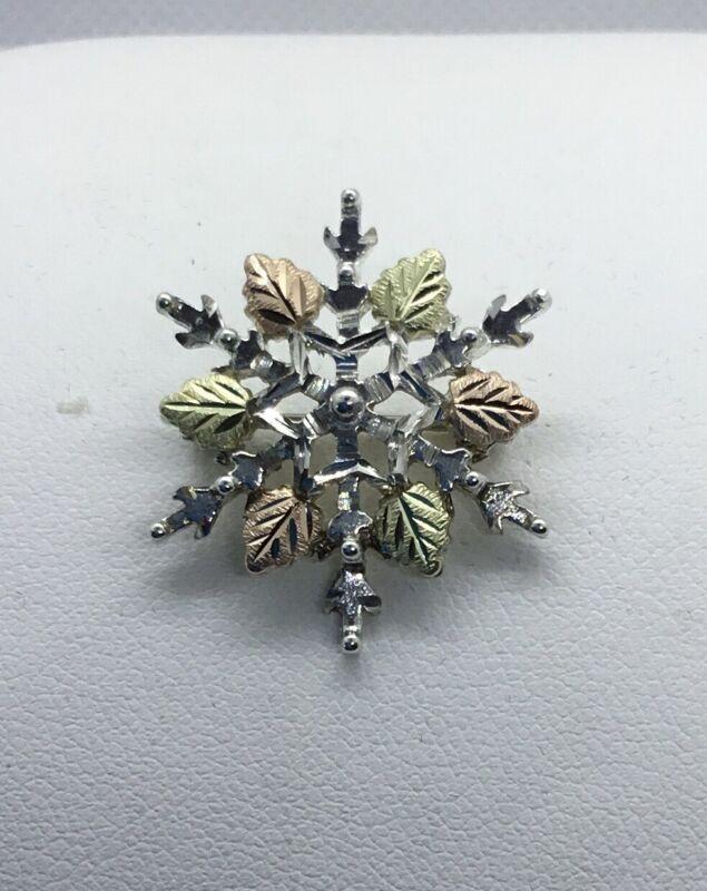 Vintage Black Hills 12k Gold & Sterling Silver Snowflake Pin Brooch, EUC, 1 In.
