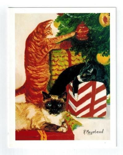3 Cats & Christmas Tree Holiday Greeting Card Set - 12 Cards By Ruth Maystead