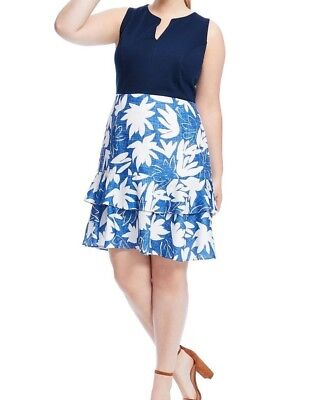 Hutch Sleeveless Jersey Blue Floral Linen And Navy Knit Fit And Flare Dress 12