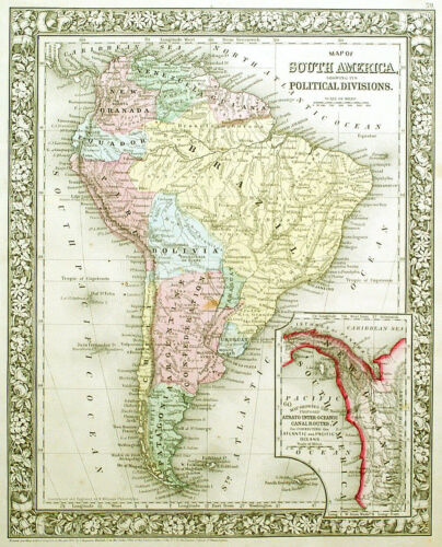 1866 SOUTH AMERICA  MITCHELL ANTIQUE HAND-COLORED MAP, NEW GRANADA INSET