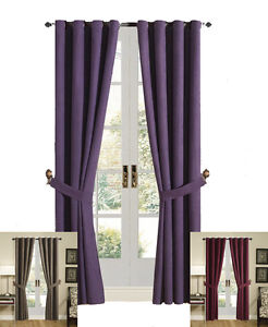 Grommet-Top-Solid-Brown-Burgundy-Purple-Micro-Suede-Window-Curtain-Drape-Set