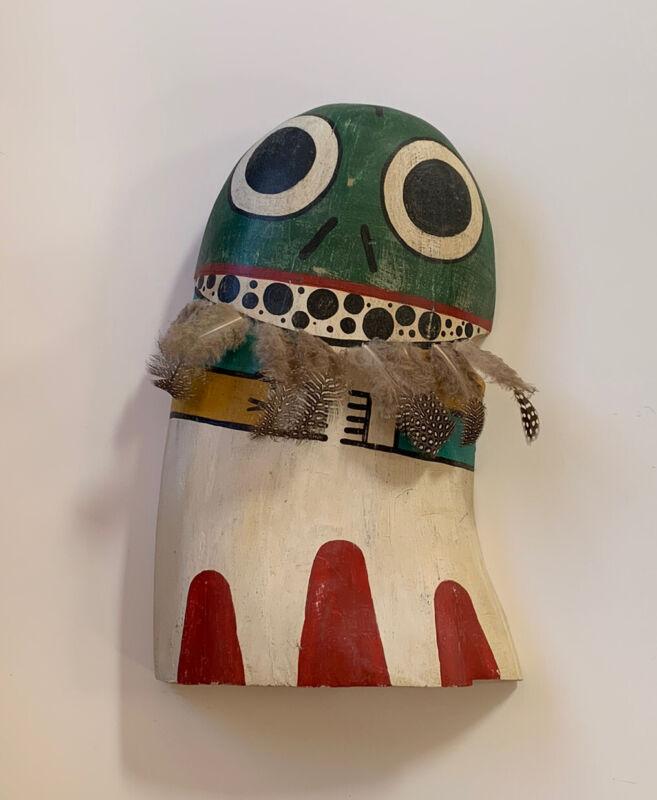 """Vtg Hopi Kachina Cradle Doll Katsina Frog Native American Large 13x8"""" Signed"""