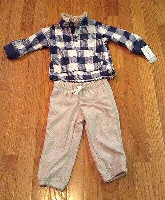 NEW Carters Baby Infant Boys 12 Months 2 PC Outfit Fleece Sweatshirt Sweatpants